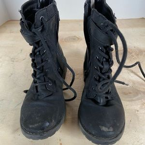 Place Girls Lace Up Boots Size 1 Black